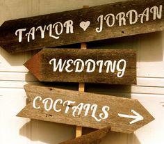 18 Dollars A Sign, Rustic Wedding, Road Sign, Custom Signs, Reception, Country Wedding, Beach Wedding Vintage Wedding. $18.00, via Etsy.