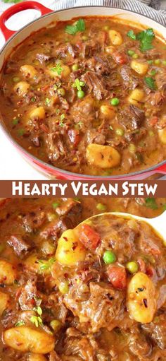 Hearty Vegan Stew Hearty vegan stew Italian style featuring gnocchi dumplings, meaty jackfruit, peas and carrots and a thick red wine gravy. No beef, one pot comforting stew that checks all the boxes. Rich, savory and whole foods plant based recipe. Vegan Dinner Recipes, Meat Recipes, Whole Food Recipes, Vegetarian Recipes, Cooking Recipes, Healthy Recipes, Veggie Stew Recipes, Vegan Meat Recipe, Recipe Stew
