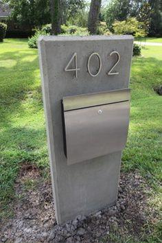 Friendswood House - modern - landscape - houston - M+A Architecture Studio Stainless Steel Mailbox, Wall Mount Mailbox, Metal Mailbox, Modern Mailbox, Modern Exterior, Mailbox Ideas, Mailbox Designs, Diy Mailbox, Mailbox Post