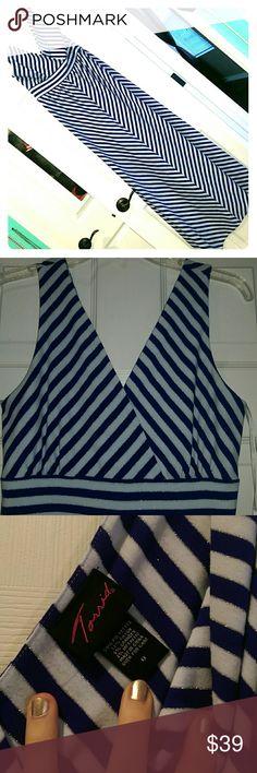 Torrid Maxi Dress Cobalt blue, white and silver chevron stripped Maxi dress. Worn once. torrid Dresses Maxi