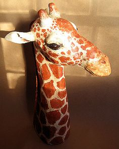It took over a week, but my giraffe sculpture is finally finished. The neck was made with a cardboard armature (see the African mask tutorial). Paper Clay, Paper Art, Paper Mache Head, Giraffe Costume, Lion King Costume, Giraffe Head, Victorian Dollhouse, Modern Dollhouse, Hand Painted Gourds