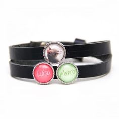 Personalised leather strap in black with 2 desired names and a photo Cuff Bracelets, Hoop Earrings, Email Address, Creative Ideas, Leather, Change, Accessories, Beads, Beautiful
