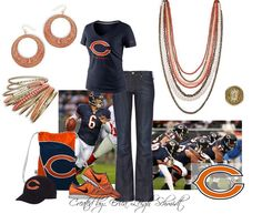 "Chicago Bears ""Papaya"" necklace, ""Casablanca"" earrings, ""Crush"" bangles, ""Jasmine"" ring"