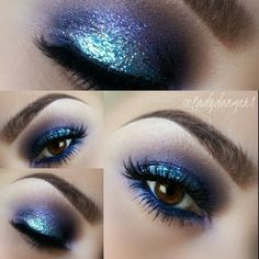 Teal and Purple glitter look
