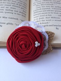 Shabby chic rustic vintage red rosette hair accessory burlap pearls lace clip flower girl bridal fall wedding custom color on Etsy, $8.50