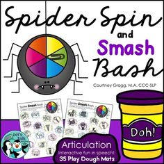 Spider Spin and Smash Mats: This packet includes 35 Play-Doh articulation spider mats targeting 22 different phonemes. These play dough mats are used to engage children interactive fun while working on speech sounds. Your OT will love the fine motor skills required for this activity!