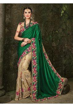 Patch Border Work Green Designer Bridal Sarees
