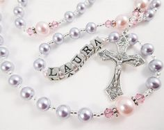 Personalized Rosary in Aqua and Purple por RosaryGardenCathy