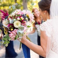 A beautiful bride and a big 'ol bouquet. Love all the yummy bits in this one! 📷 @beccabphotography