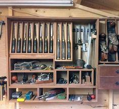 Top 80 Best Tool Storage Ideas - Organized Garage Designs Garage Tool Storage, Workshop Storage, Garage Tools, Garage Shop, Garage Workshop, Garage Organization, Organized Garage, Workshop Organization, Diy Workshop