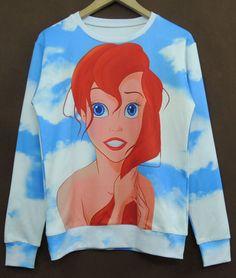 Blue Long Sleeve Clouds Girl Print Sweatshirt