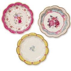 Vintage Style Afternoon Tea Party 12 Paper Plates por Fabfingz