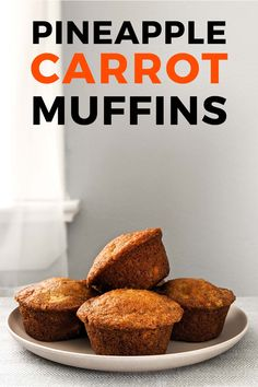 Pineapple carrot muffins are a perfect breakfast muffin or a healthy snack on the go. Moist like banana bread and don't need butter although it never hurts! Pineapple Carrot Muffins, Healthy Carrot Muffins, Carrots Healthy, Gluten Free Carrot Cake, Carrot Cake Muffins, Healthy Breakfast Muffins, Healthy Muffin Recipes, Carrot Recipes, Healthy Meals
