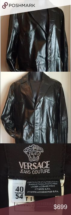 Authentic Versace Men's Leather Trench Coat Authentic Versace Men's Genuine Leather Trench Coat Color: Black Size: 54 (Italian), 40 (US) Condition: Excellent!  This coat was only worn TWO times! WOW!!!  This coat is an absolute show stopper and a true classic beauty!  Own this stunning and collectible piece from Versace! Versace Jackets & Coats Trench Coats