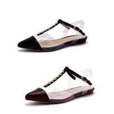 7f785ac74261 100FIXEO Women Pointy Toe Stud Casual Slingback Ankle Strap Flats Shoes   100FIXEO  comfy  pointedtoe  clearheels  rivetsstudded  ankle strap  sexy  ...