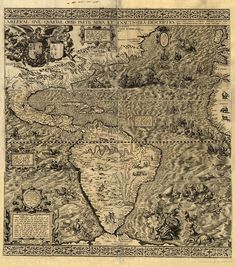 "The 1562 Map of the Americas by Diego Gutiérrez. Gutierrez's map features not only the Amazon River system and Lake Titicaca as well as other geographical features, but also fanciful depictions of parrots, monkeys, mermaids, huge sea creatures, Brazilian cannibals, Patagonian giants, and an erupting volcano in central Mexico. It was the first map to print the toponym ""California"". It recorded the first appearance of a word for ""Appalachia,"" as the term ""Apalchen."""