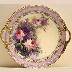 Lilac & Pink Roses Cake Plate