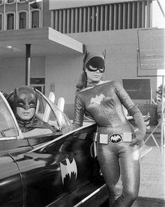 Batman (Adam West) and BatGirl (Yvonne Craig) with the Batmobile