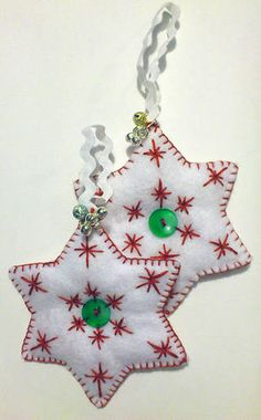 Festive Felt Goodness - star and bell yuletide ornaments