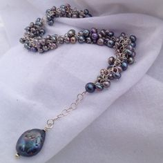 Black Iridescent Pearls Demand Attention by SilverLiningJewelCo, $75.00