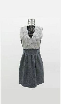 Elegent  rabbit fur collar woolen dress