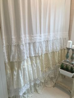 Shabby Chic Shower Curtain White Ivory Lace by FarmHouseFare