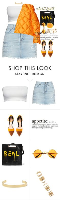 """CITRUS"" by a-lookbyt ❤ liked on Polyvore featuring Yves Saint Laurent, Gianvito Rossi, WALL, Gucci, Retrò, Jennifer Fisher, Forever 21 and Furla"