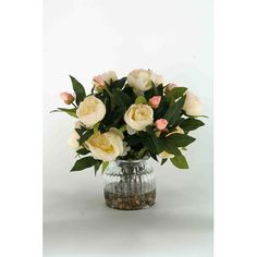 Cream Peonies in Ribbed Glass Vase
