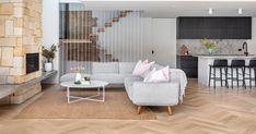Beautiful Home Design features herringbone timber floors - Modern Engineered Timber Flooring, Timber Planks, Real Living Magazine, Ceiling Trim, White Wood Floors, Herringbone Backsplash, Timber Furniture, Beautiful Home Designs, Commercial Flooring