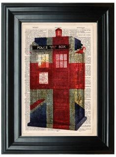 Art-Print-Doctor-Who-Tardis-Vintage-Union-Jack-Flag-Decor-Dictionary-Police-Box