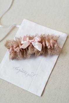 blush and lace bridal garter - hand made wedding garter by The Garter Girl