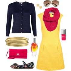 Afternoon Date - Navy, Yellow, Pink, created by katelyn327 on Polyvore
