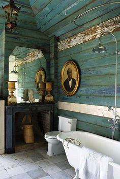The distressed turquoise of the wooden walls amplifies the antique vibe, but it also adds an additional visual element: color.