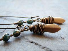 Bohemian Brushed Gold Earrings/ Beaded by lululovestocreate