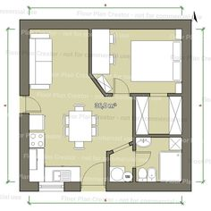 guest house with full bath and laundry Studio Floor Plans, Hotel Floor Plan, House Floor Plans, Studio Apartment Layout, Studio Apt, Small Studio, Floor Plan Creator, Dome House, Tiny Apartments