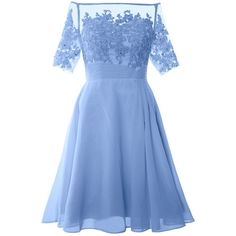 MACloth Women Off Shoulder Lace Short Sleeve Cocktail Dress Wedding... ($124) ❤ liked on Polyvore featuring dresses, gowns, off the shoulder evening gown, lace dress, short-sleeve lace dresses, blue dress and off-the-shoulder lace dresses