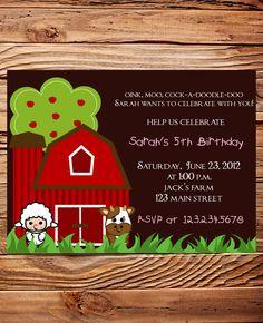 Farm Animals Birthday Party Invitation Farm by StellarDesignsPro, $18.00