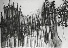 Lincoln Cathedral II by Dennis Creffield Landscape Drawings, Art Drawings, Landscapes, Lincoln Cathedral, Drawing Interior, Charcoal Drawings, Sense Of Place, Mark Making, Acrylic Art