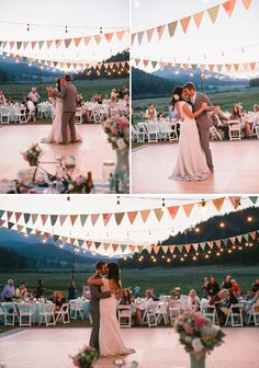 Bunting and string lights make the perfect outdoor vintage wedding decorations! Wedding by Pink Champagne Events