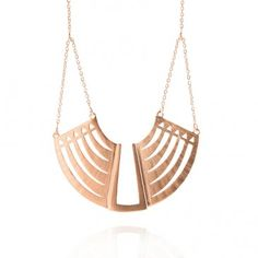 Breastplate Necklace - Sterling Silver with Rose Gold Vermeil