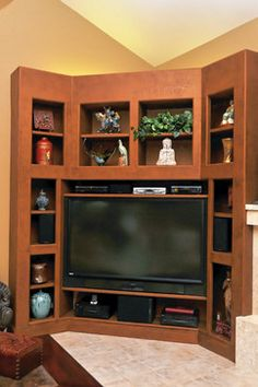 Entertainment Center Design ~ pretty corner nook idea L: - Today Pin Corner Media Cabinet, Corner Tv Cabinets, Corner Tv Stands, Corner Tv Unit, Tv Unit Furniture, Corner Furniture, Tv Nook, Corner Nook, Tv Center