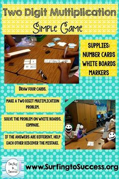 Two Digit Multiplication Game and Free Quiz This no prep simple game only requires number cards and a white board.