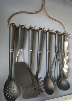 Hey, there's an idea!   If you find an old rake, don't throw it. Clean and reuse it as kitchen rack.
