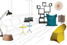 Geef je woonkamer een zonnige, zomerse uitstraling door er gele accessoires in te plaatsen. Combineer geel met een donkere turquoise en robuust grijs voor een modern geheel. Door de toevoeging van verschillende houttinten ontstaat een huiselijke sfeer.