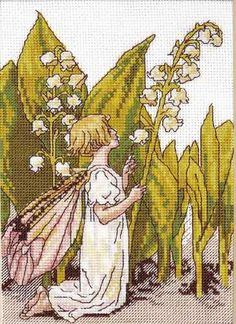 Cross stitch - fairies: Lily of the valley fairy - Cicely Mary Barker (free pattern with chart)
