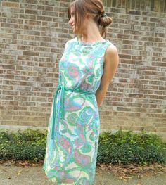 1960s vintage MOD RETRO pasiley aline wiggle COTTON dress