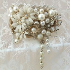 Bracelet, Bridal wrist band, Flowers n Beads, Corsage, Vintage collage art jewelry, Adjustable, Wedding accessory, White n Gold