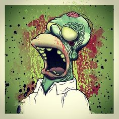 Homer Simpsons as a Zombie Zombie Kunst, Arte Zombie, Zombies, Los Simsons, Evil Dead, You're Dead, Zombie Cartoon, Cartoon Art, Zombie Walk