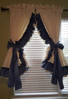Gorgeous Priscilla Curtain Set Cream Blue Double Ruffle 52 L By 216W