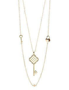 Lock & Key Layered Pendant Necklace: Charlotte Russe